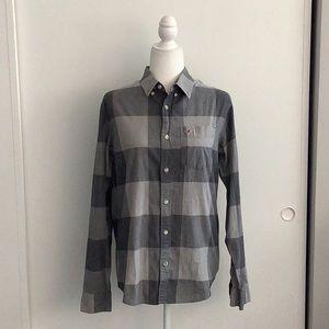 Hollister grey plaid button down shirt